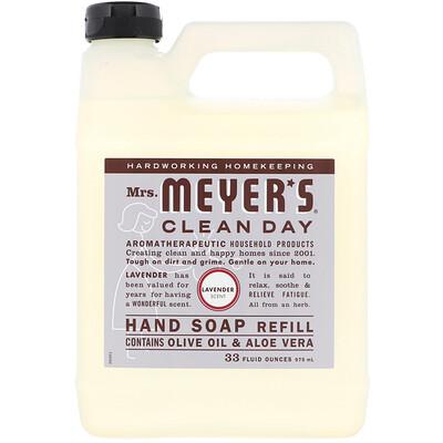 Купить Mrs. Meyers Clean Day Запасной блок жидкого мыла для рук, с запахом лаванды, 33 жидкие унции (975 мл)