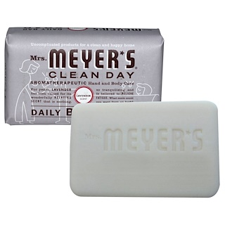 Mrs. Meyers Clean Day, Daily Bar Soap, Lavender Scent, 5.3 oz (150 g)