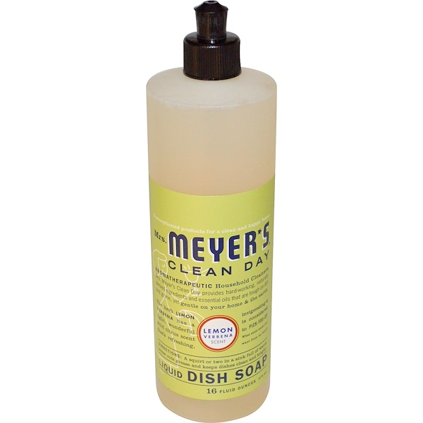 Mrs. Meyers Clean Day, Жидкое мыло для посуды, с запахом лимона и вербены, 16 жидких унций (473 мл)