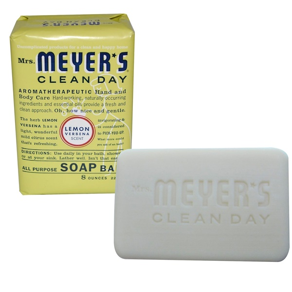 Mrs. Meyers Clean Day, All Purpose Soap Bar, Lemon Verbena Scent, 8 oz (225 g) (Discontinued Item)