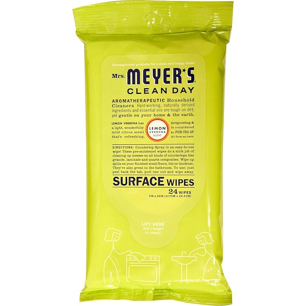 Mrs. Meyers Clean Day, Surface Wipes, Lemon Verbena, 24 Wipes, 7 in X 10 in Each (Discontinued Item)