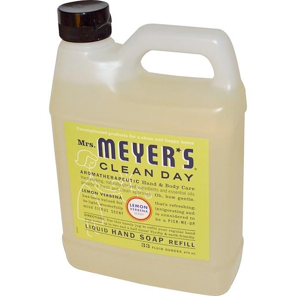 Mrs、 Meyers Clean Day, 檸檬馬鞭草香味洗手液補充裝,33液體盎司 (975毫升)