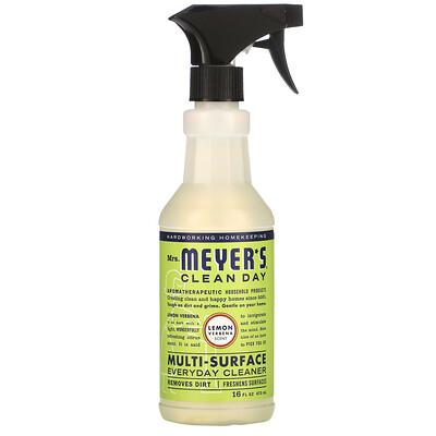 Купить Mrs. Meyers Clean Day Средство для очищения различного рода поверхностей, с запахом лимонной вербены, 16 жидких унций (473 мл)