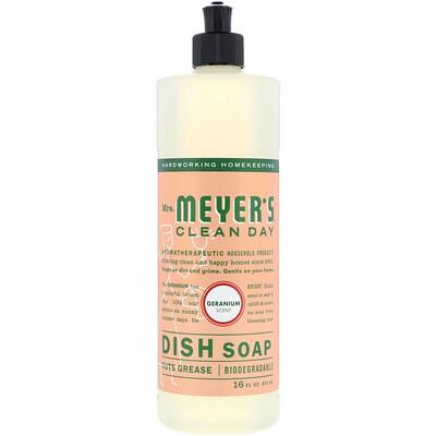 Mrs. Meyers Clean Day Жидкость для мытья посуды, аромат герани, 473мл (16 жидк.унций)