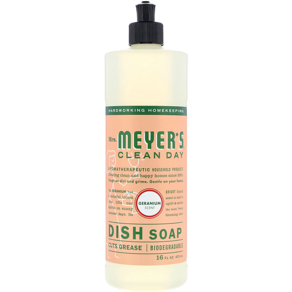 Mrs. Meyers Clean Day, Dish Soap, Geranium Scent, 16 fl oz (473 ml)
