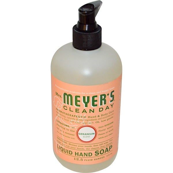 Mrs. Meyers Clean Day, Liquid Hand Soap, Geranium Scent, 12.5 fl oz (370 ml)