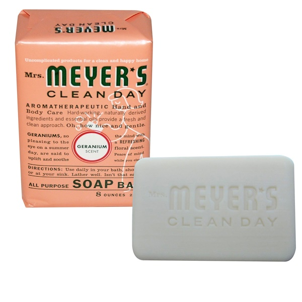Mrs. Meyers Clean Day, All Purpose Soap Bar, Geranium Scent, 8 oz (225 g) (Discontinued Item)