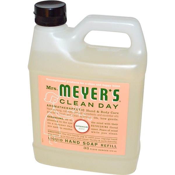 Mrs. Meyers Clean Day, Liquid Hand Soap Refill, Geranium Scent, 33 fl oz (975 ml)