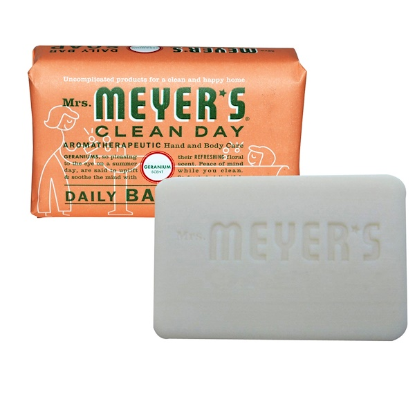 Mrs. Meyers Clean Day, Daily Bar Soap, Geranium Scent, 5.3 oz (150 g) (Discontinued Item)
