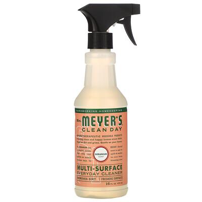 Mrs. Meyers Clean Day Средство для очищения различного рода поверхностей, с запахом герани, 16 жидких унций (473 мл)