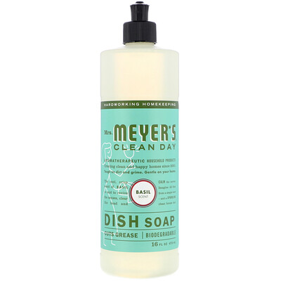 Mrs. Meyers Clean Day Жидкость для мытья посуды, аромат базилика, 16 жидк. унц. (473 мл)