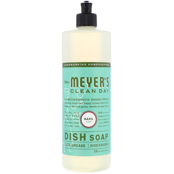 Mrs. Meyers Clean Day, Dish Soap, Basil Scent, 16 fl oz (473 ml)