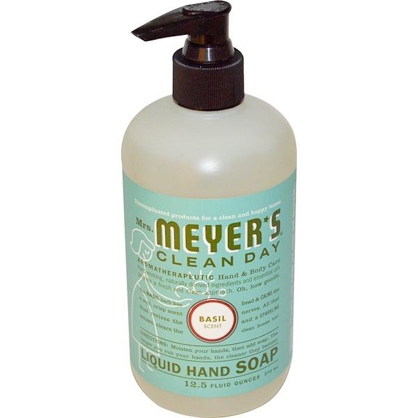 Mrs. Meyers Clean Day, 리퀴드 핸드 솝, 바질 센트, 12.5 액량 온스 (370 밀리리터)