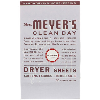 Mrs. Meyers Clean Day, Dryer Sheets, Lavender Scent, 80 Sheets