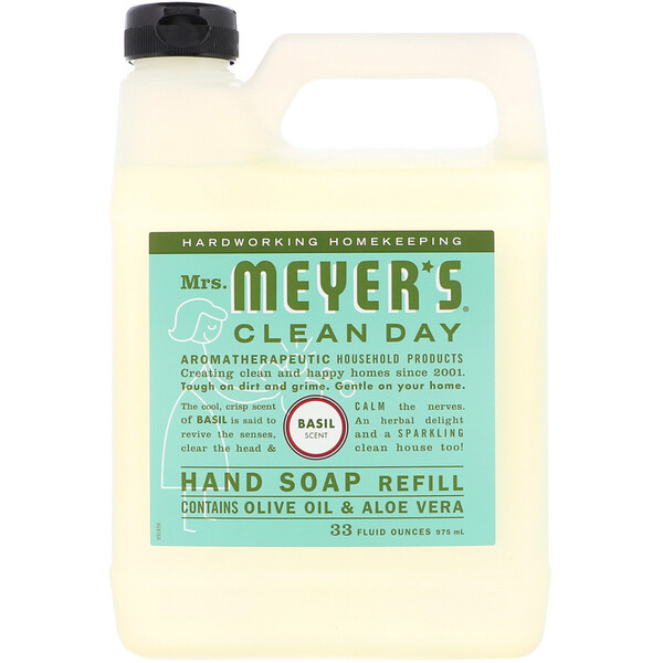 Mrs. Meyers Clean Day, Liquid Hand Soap Refill, Basil Scent, 33 fl oz (975 ml)