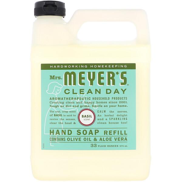 Mrs. Meyers Clean Day, صابون اليد السائل لإعادة الملئ، عطر الريحان، 33 أوقية سائلة (975 ملل)