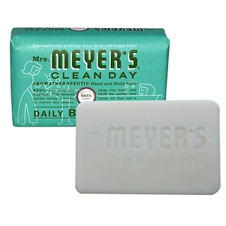 Mrs. Meyers Clean Day, Daily Bar Soap, Basil Scent, 5.3 oz (150 g)