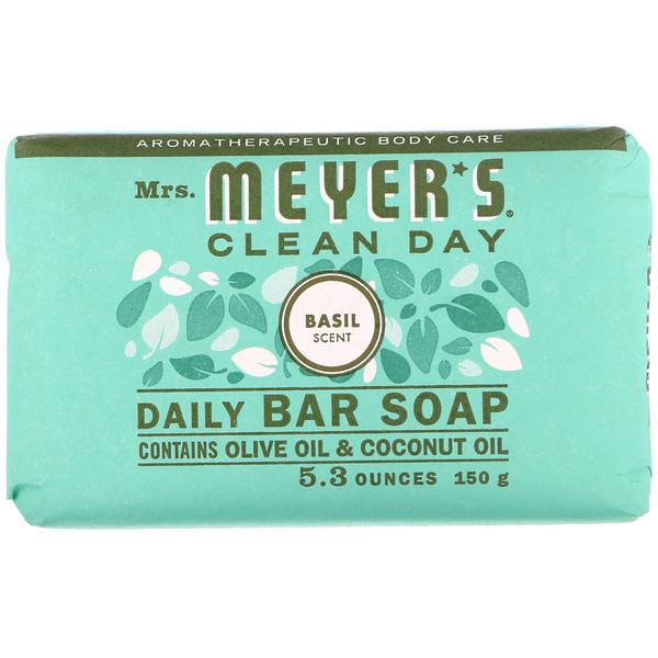 Mrs. Meyers Clean Day, Daily Bar Soap, Basil Scent, 5.3 oz (150 g) (Discontinued Item)
