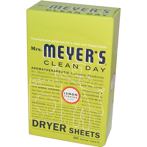 Mrs. Meyers Clean Day, Dryer Sheets, Lemon Verbena Scent, 80 Sheets