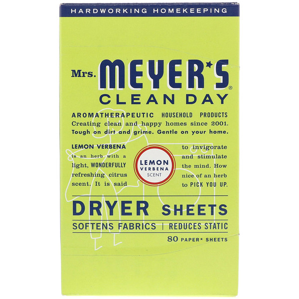 Mrs. Meyers Clean Day, Dryer Sheets, Lemon Verbena Scent, 80 Sheets (Discontinued Item)