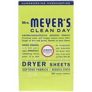 Мрс Мэйерс Клин Дэй, Dryer Sheets, Lemon Verbena Scent, 80 Sheets отзывы