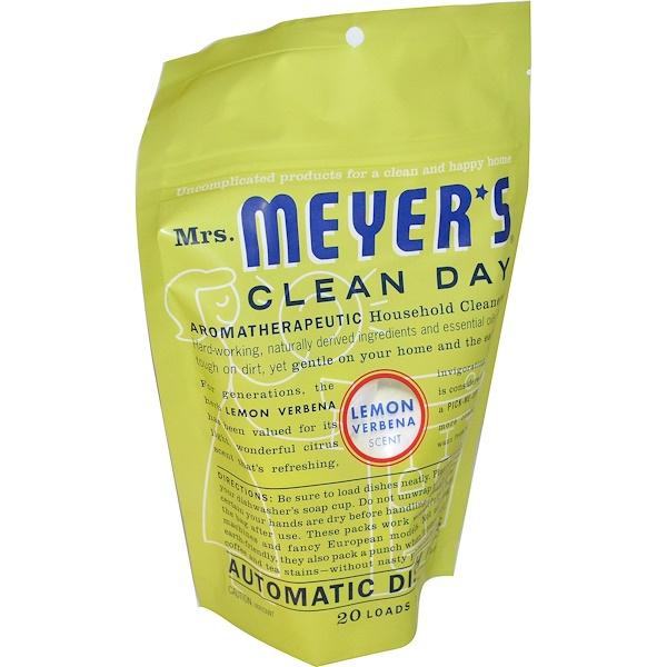 Mrs. Meyers Clean Day, Пакетики для посудомоечной машины, запах лимонной вербены, 12,7 унций (360 г)