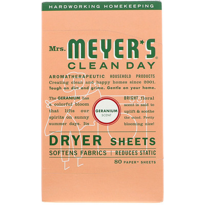 Mrs. Meyers Clean Day Салфетки для сушильной машины, запах герани 80 щт
