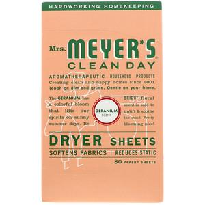 Мрс Мэйерс Клин Дэй, Dryer Sheets, Geranium Scent,  80 Sheets отзывы покупателей