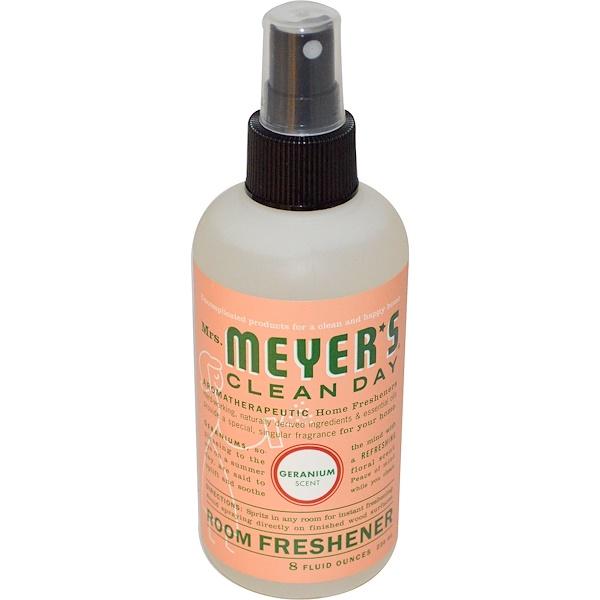 Mrs. Meyers Clean Day, Освежитель воздуха, с запахом герани, 8 жидких унций (236 мл) (Discontinued Item)