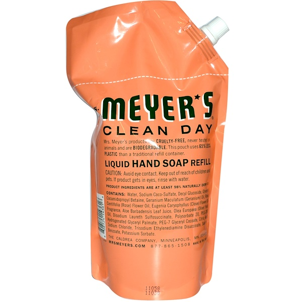 Mrs. Meyers Clean Day, Liquid Hand Soap Refill, Geranium, 34 fl oz (1 L) (Discontinued Item)