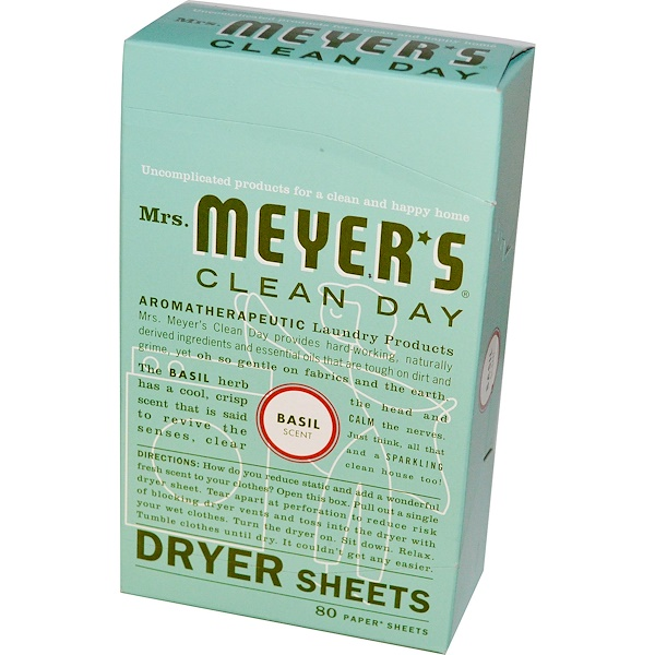 Mrs. Meyers Clean Day, Антистатические салфетки, аромат базилика, 80 шт.