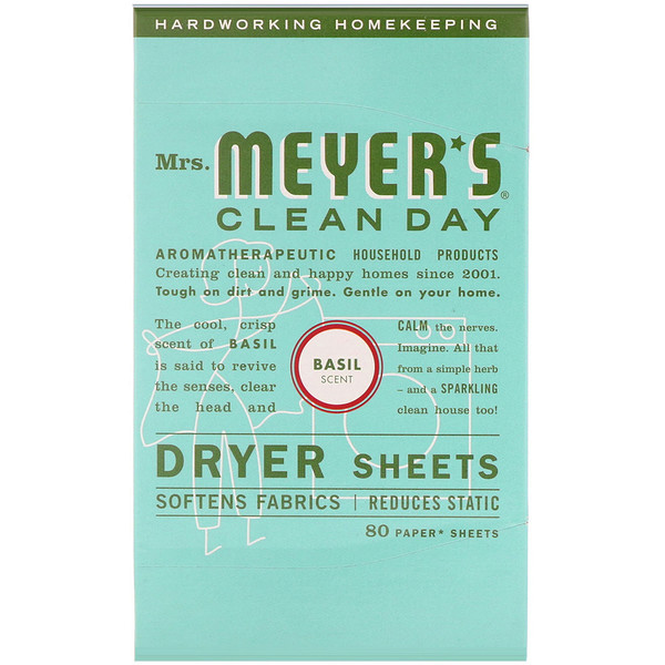 Mrs. Meyers Clean Day, Dryer Sheets, Basil Scent, 80 Sheets