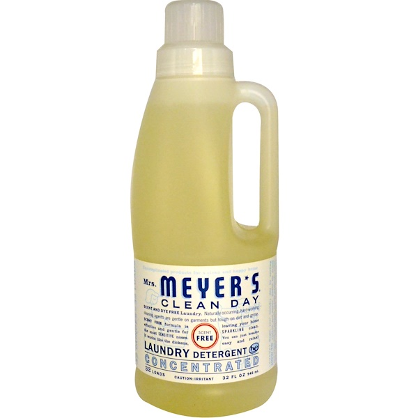 Mrs. Meyers Clean Day, Laundry Detergent Concentrated, Scent Free, 32 fl oz (946 ml) (Discontinued Item)