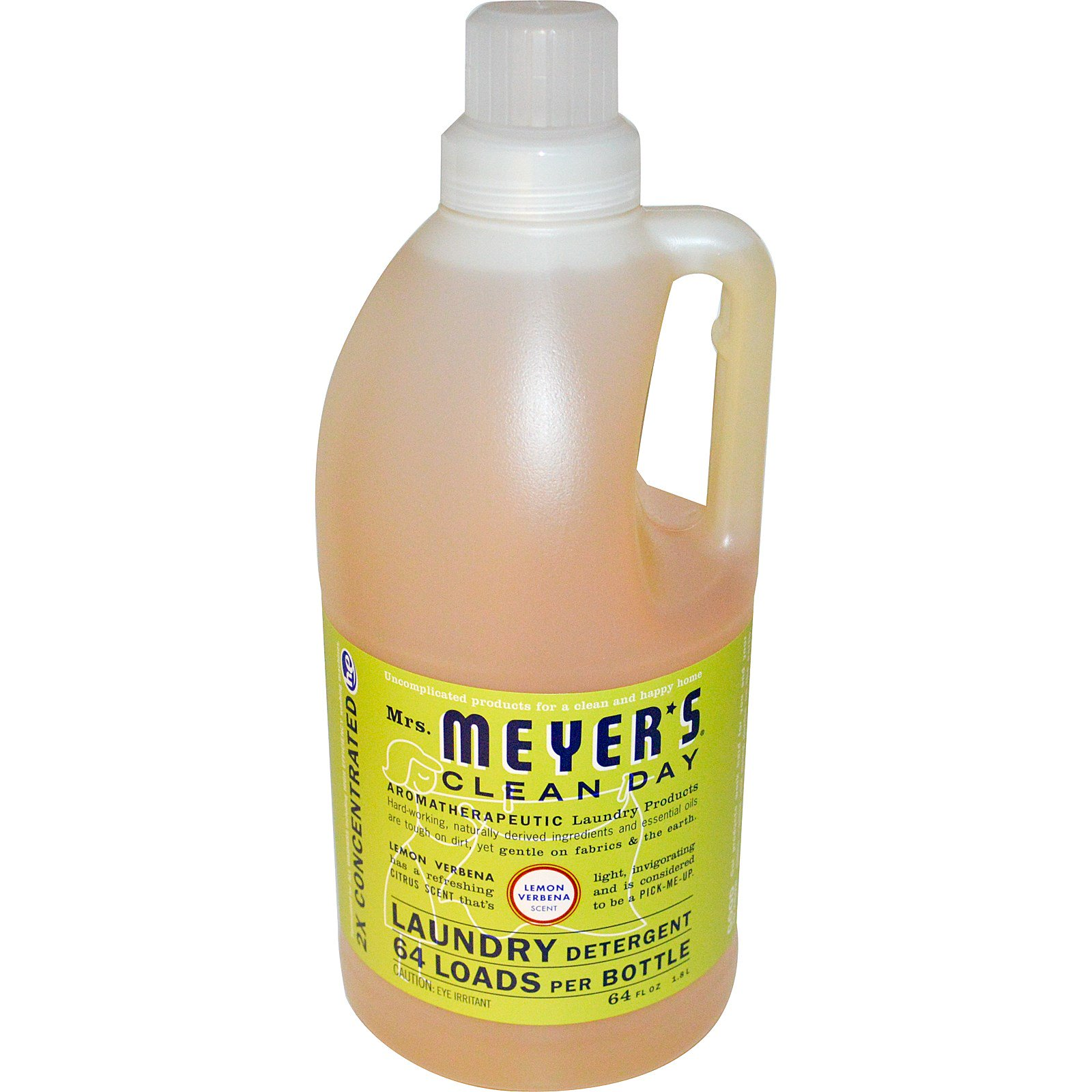 Mrs  Meyers Clean Day, Laundry Detergent, Lemon Verbena Scent, 64 Loads, 64  fl oz (1 8 L) (Discontinued Item)
