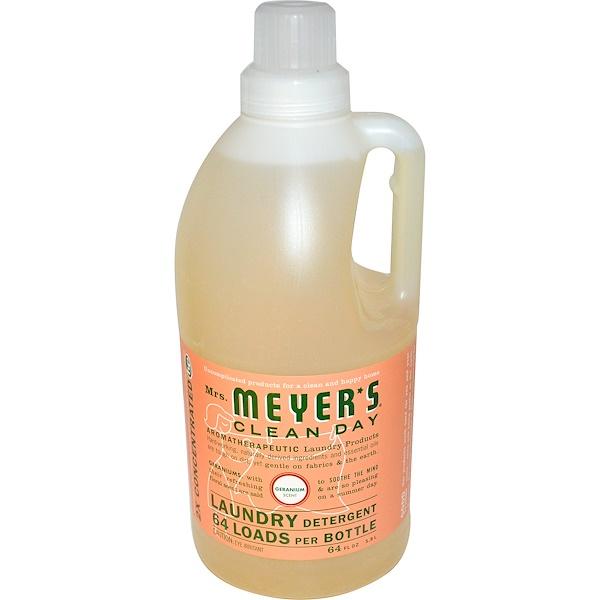 Mrs. Meyers Clean Day, Laundry Detergent, Geranium Scent, 64 fl oz (1.8 L) (Discontinued Item)