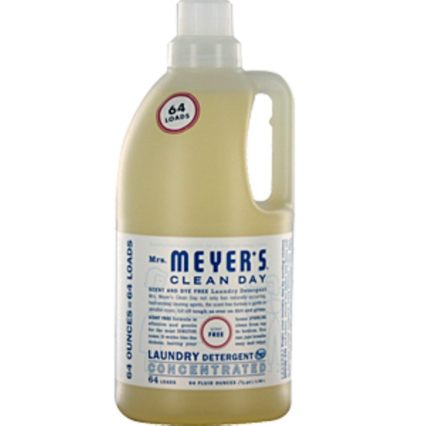 Mrs. Meyers Clean Day, Laundry Detergent Concentrated, Scent Free, 64 fl oz (1.89 L) (Discontinued Item)
