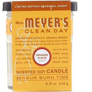 Mrs. Meyers Clean Day, 限量版,香味大豆蠟燭,橙色丁香氣味,4.9盎司(140克)