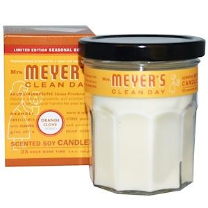 Mrs. Meyers Clean Day, Ограниченное издание, ароматизированные соевые свечи, апельсиново-гвоздичный аромат, 4,9 унции (140 г)