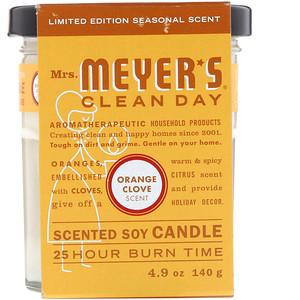 Мрс Мэйерс Клин Дэй, Scented Soy Candle, Orange Clove Scent, 4.9 oz (140 g) отзывы покупателей
