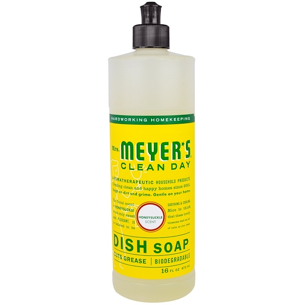 Mrs. Meyers Clean Day, Liquid Dish Soap, Honeysuckle Scent, 16 fl oz (473 ml)