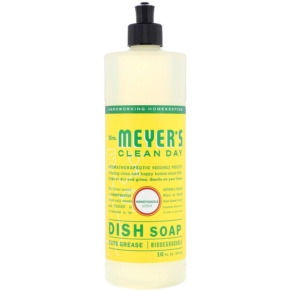 Mrs. Meyers Clean Day, Dish Soap, Honeysuckle Scent, 16 fl oz (473 ml)
