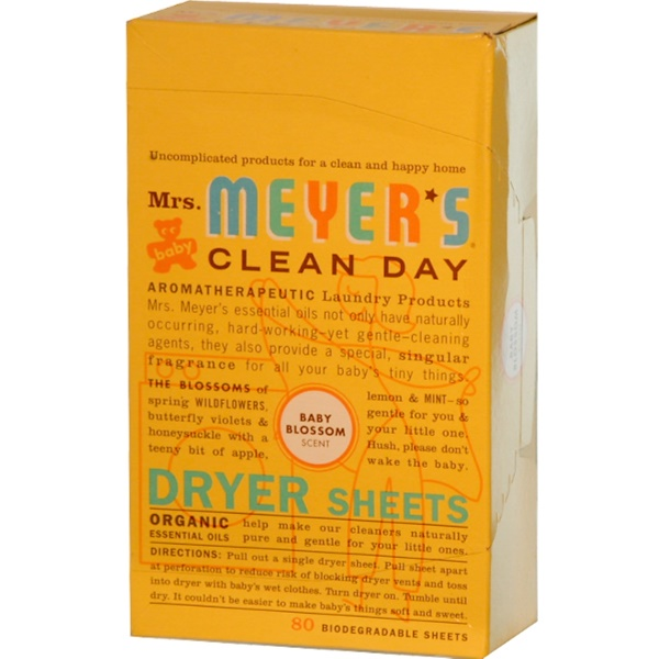 Mrs. Meyers Clean Day, Dryer Sheets, Baby Blossom Scent, 80 Sheets (Discontinued Item)