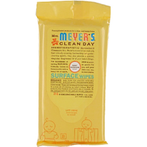 Mrs. Meyers Clean Day, Surface Wipes, Biodegradable, Baby Blossom Scent, 24 Wipes (Discontinued Item)