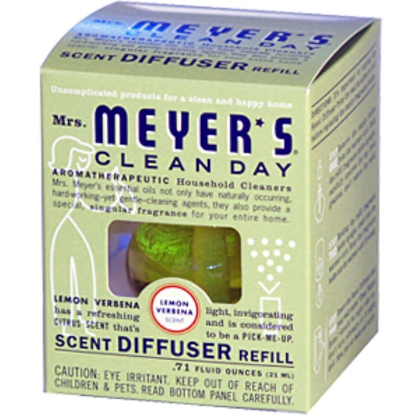 Mrs. Meyers Clean Day, Scent Diffuser Refill, Lemon Verbena Scent, 0.71 fl oz (21 ml) (Discontinued Item)