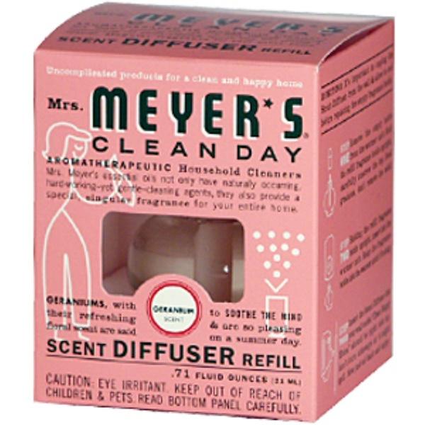 Mrs. Meyers Clean Day, Scent Diffuser Refill, Geranium, 0.71 fl oz (21 ml) (Discontinued Item)