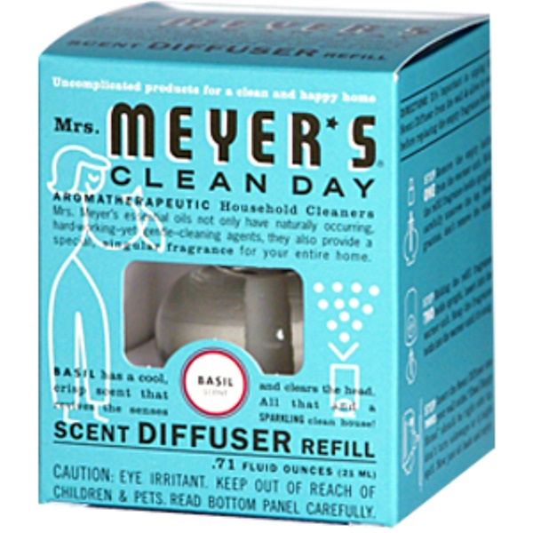 Mrs. Meyers Clean Day, Scent Diffuser Refill, Basil, 0.71 fl oz (21 ml) (Discontinued Item)