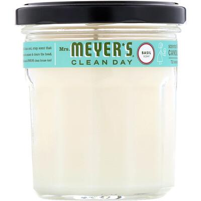 Купить Mrs. Meyers Clean Day Ароматизированная соевая свеча, с запахом базилика, 7, 2унции