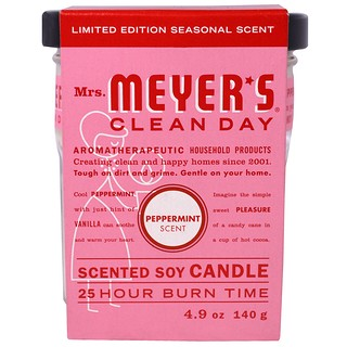 Mrs. Meyers Clean Day, Scented Soy Candle, Peppermint, 4.9 oz (140 g)
