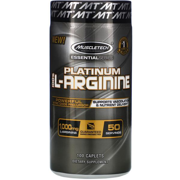Muscletech, Platino 100% L-arginina, 1000mg, 100comprimidos