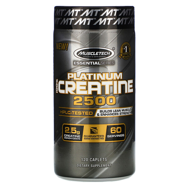 Muscletech, Essential Series, Platinum 100% Creatine 2500, 120 Caplets